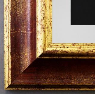 Bilderrahmen Acta in Rot - Gold mit Passepartout in Weiss 6, 7 - NEU alle Größen