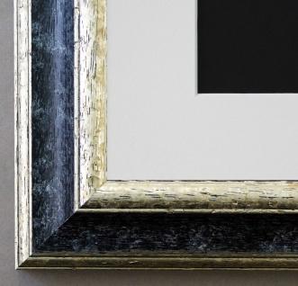 Bilderrahmen Genua Schwarz Silber mit Passepartout in Weiss 4, 3 - NEU jede Größe