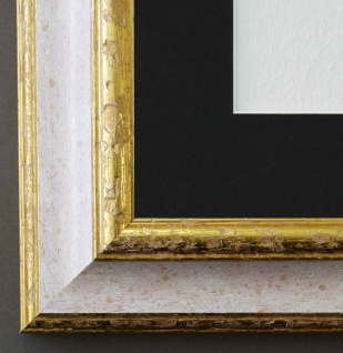 Bilderrahmen Genua Weiss Gold mit Passepartout in Schwarz 4, 3 - NEU alle Größen