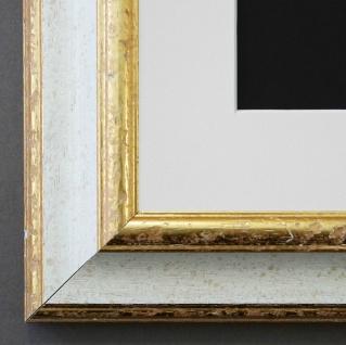 Bilderrahmen Genua in Weiss Gold mit Passepartout in Weiss 4, 3 - NEU alle Größen
