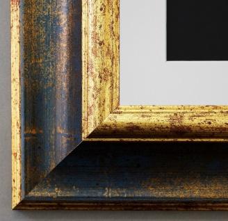 Bilderrahmen Acta in Blau - Gold mit Passepartout in Weiss 6, 7 - NEU alle Größen