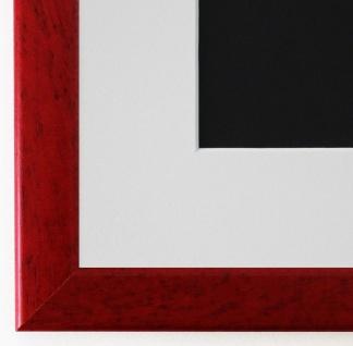 Bilderrahmen Hannover in Rot mit Passepartout in Weiss 2, 4 Top Qualität