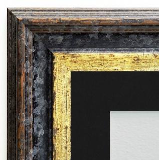 Bilderrahmen Trento Schwarz Gold Antik Passepartout in Schwarz 5, 4 - alle Größen