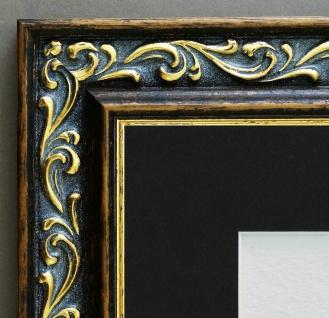 Bilderrahmen Verona Braun Gold Barock Passepartout in Schwarz 4, 4 - alle Größen