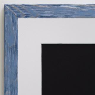 Bilderrahmen Siena in hell Blau Modern mit Passepartout Weiss 2, 0 - alle Größen