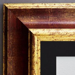 Bilderrahmen Acta in Rot Gold Antik mit Passepartout in Schwarz 6, 7 - alle Größe