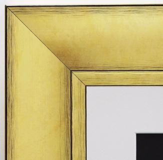 Bilderrahmen Bochum in Gold Antik rmit Passepartout in Weiss 6, 9 - alle Größen