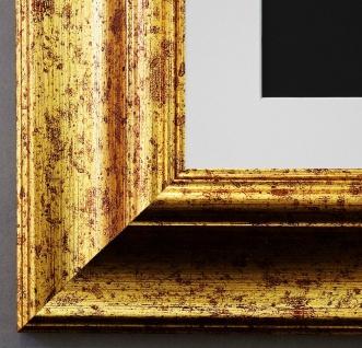 Bilderrahmen Acta Gold gemasert mit Passepartout in Weiss 6, 7 - NEU alle Größen
