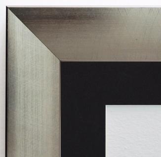 Bilderrahmen Bergamo Silber Modern mit Passepartout in Schwarz 4, 0 - alle Größen