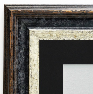 Bilderrahmen Trento Schwarz Silber Antik Passepartout Schwarz 5, 4 - alle Größen