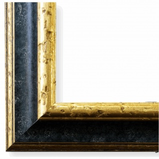 Bilderrahmen Schwarz Gold Vintage Retro Holz Genua 4, 3 - NEU alle Größen