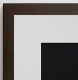 Bilderrahmen Neapel dunkel Braun Modern mit Passepartout Weiss 2, 0 - alle Größen