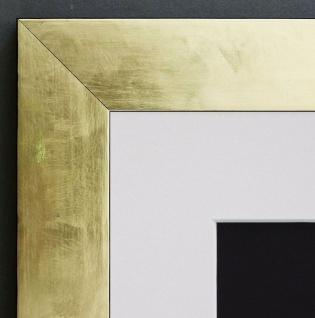 Bilderrahmen Lecce in Gold Shabby mit Passepartout in Weiss 3, 9 - alle Größen