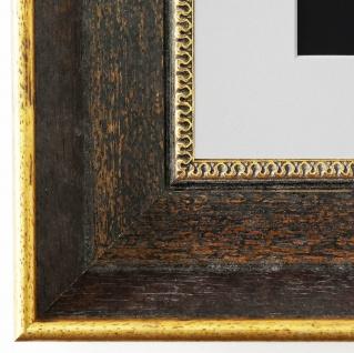 Bilderrahmen Monza dkl. Braun Gold mit Passepartout Weiss 6, 7 - NEU alle Größen