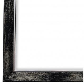 Bilderrahmen Schwarz Silber Holz Frosinone - DIN A2 - DIN A3 - DIN A4 - DIN A5
