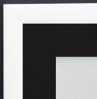 Bilderrahmen Hannover Weiss Lack Modern Passepartout Schwarz 2, 4 - alle Größen