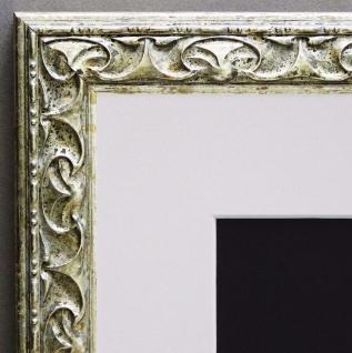 Bilderrahmen Mantova Silber Barock mit Passepartout in Weiss 3, 1 - alle Größen