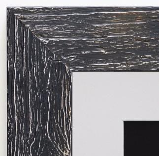 Bilderrahmen Capri Schwarz Rustikal mit Passepartout in Weiss 5, 8 - alle Größen