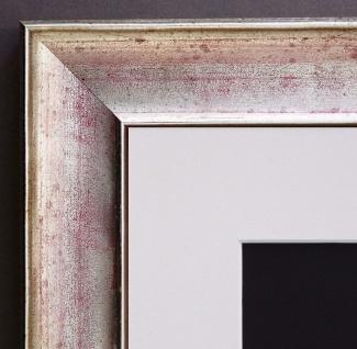 Bilderrahmen Matera in Silber Rot Modern Passepartout in Weiss 3, 9 - alle Größen