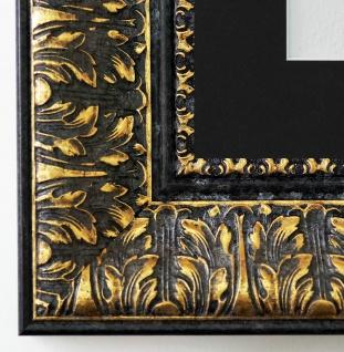 Bilderrahmen Ancona in Schwarz Gold mit Passepartout in Schwarz 7, 5 Top Qualität