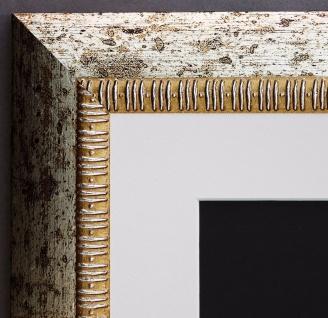 Bilderrahmen Turin in Silber Modern mit Passepartout in Weiss 4, 0 - alle Größen