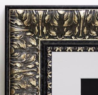 Bilderrahmen Ancona Schwarz Silber Barock Passepartout in Weiss 7, 5 - jede Größe
