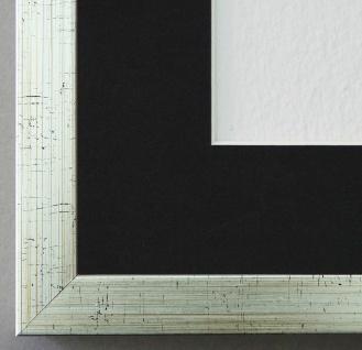 Bilderrahmen Como in Silber struk. mit Passepartout in Schwarz 2, 0 Top Qualität