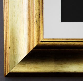 Bilderrahmen Acta in Gold mit Passepartout in Weiss 6, 7 - NEU alle Größen