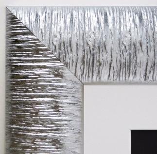Bilderrahmen Rostock Silber Modern mit Passepartout in Weiss 7, 2 - alle Größen