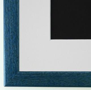 Bilderrahmen Hannover in Blau mit Passepartout in Weiss 2, 4 Top Qualität