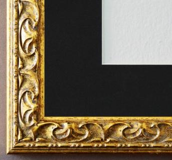 Bilderrahmen Mantova in Gold mit Passepartout in Schwarz 3, 1 Top Qualität