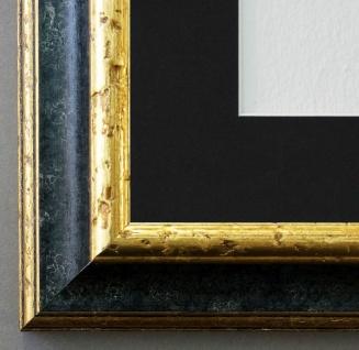 Bilderrahmen Genua Schwarz Gold mit Passepartout in Schwarz 4, 3 - NEU jede Größe