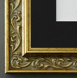 Bilderrahmen Verona in Gold mit Passepartout in Schwarz 4, 4 - NEU alle Größen