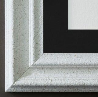 Bilderrahmen Trento Weiss mit Passepartout in Schwarz 5, 4 - NEU alle Größen