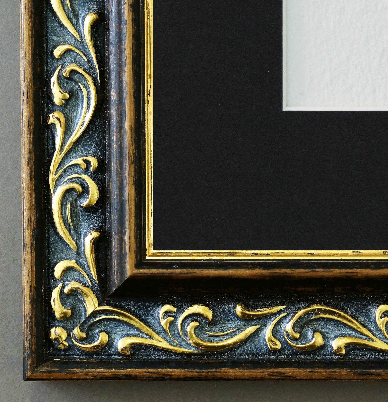 Bilderrahmen Verona in Braun Gold mit Passepartout in Schwarz 4, 4 ...