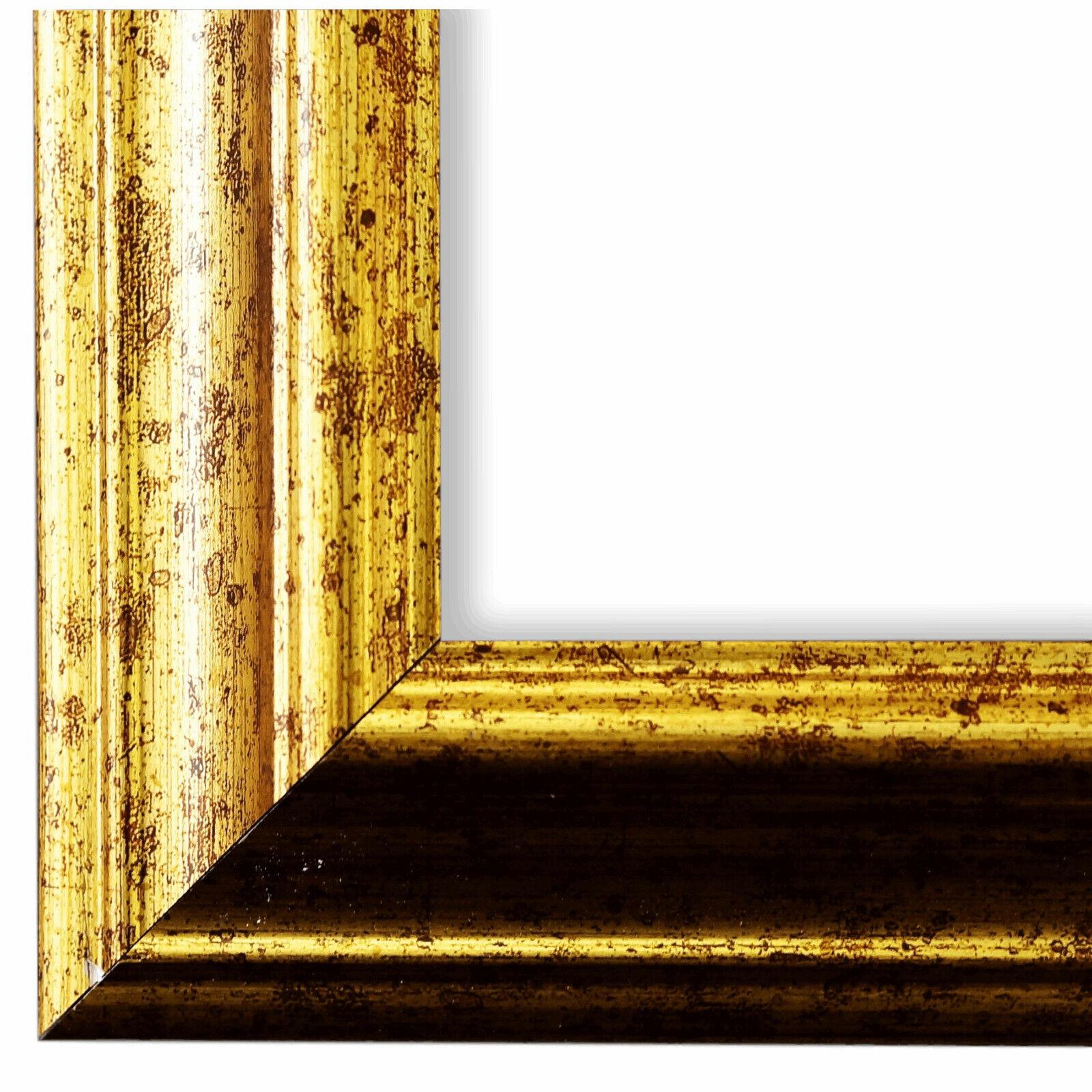 DIN A2 DIN A5 Bilderrahmen Gold Holz Bari 4,4 DIN A3 DIN A4