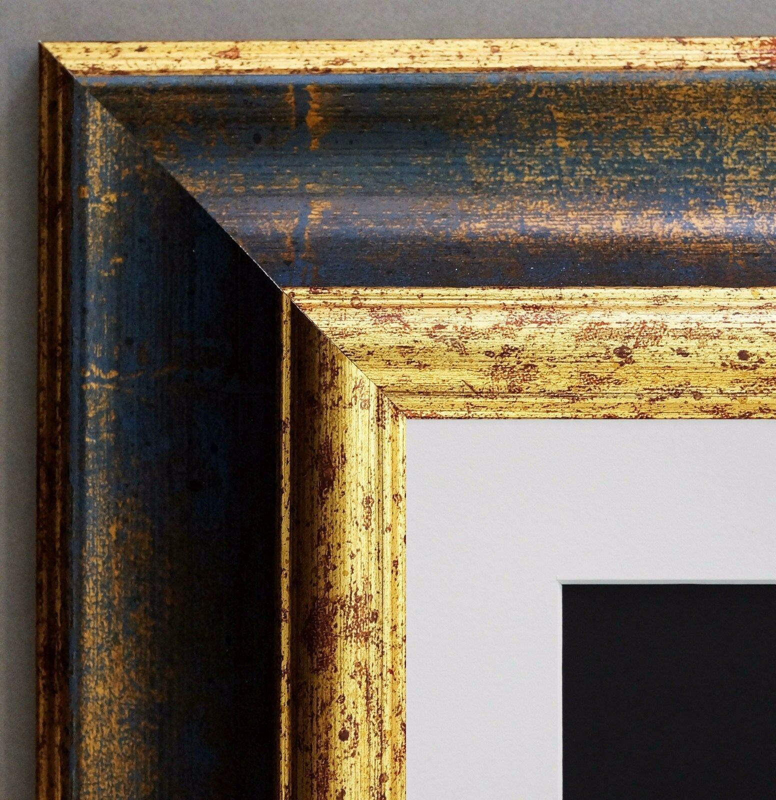 Bilderrahmen Acta Gold Antik gemasert mit Passepartout Weiss 6,7 alle Größen