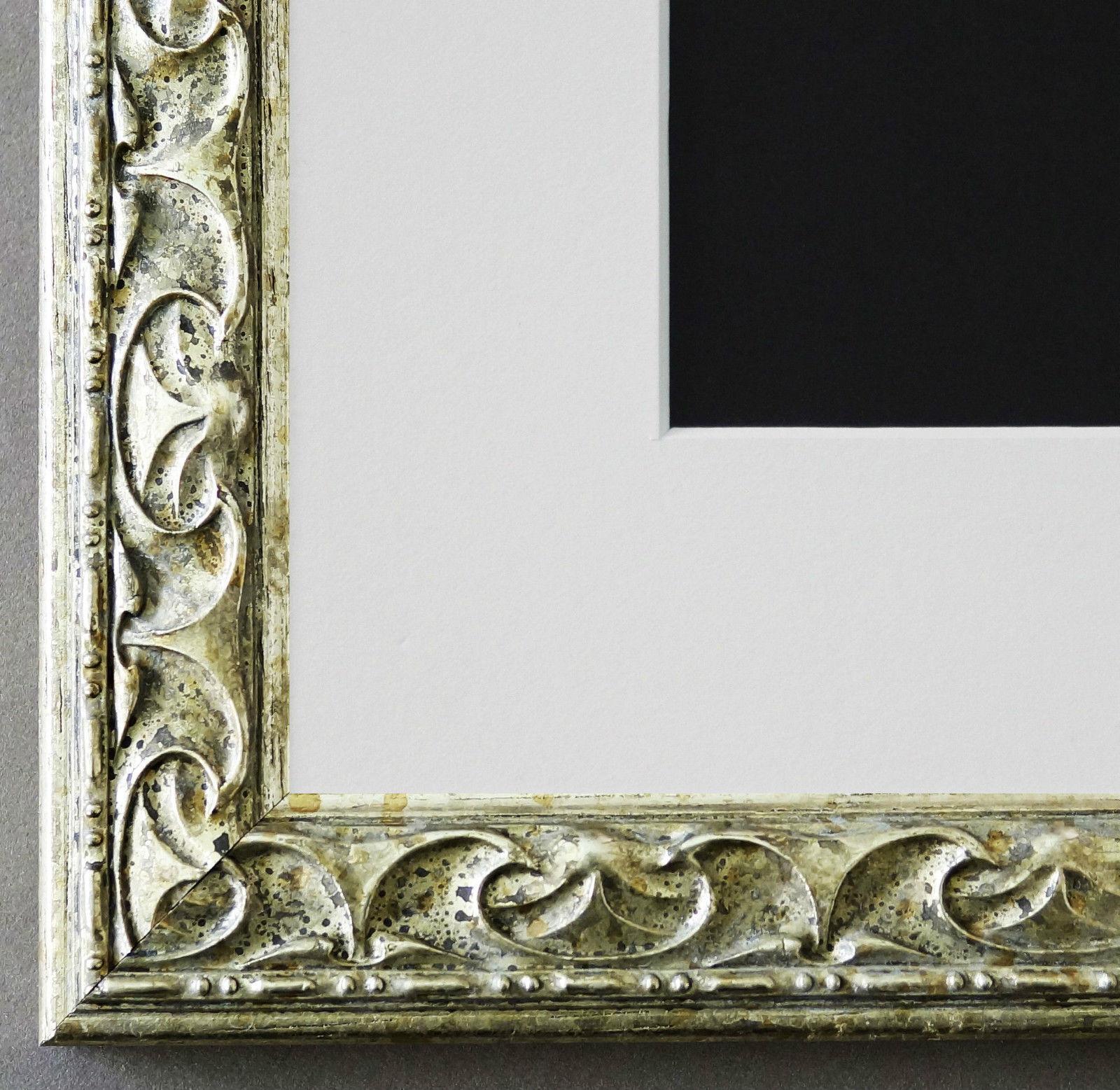 Bilderrahmen Mantova in Silber mit Passepartout in Weiss 3, 1 Top ...