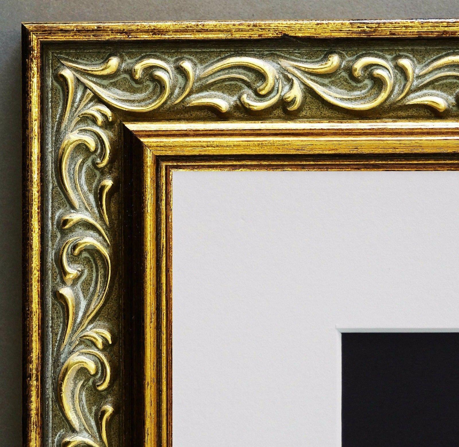 Bilderrahmen Verona in Grau Gold Barock Passepartout in Weiss 4, 4 ...