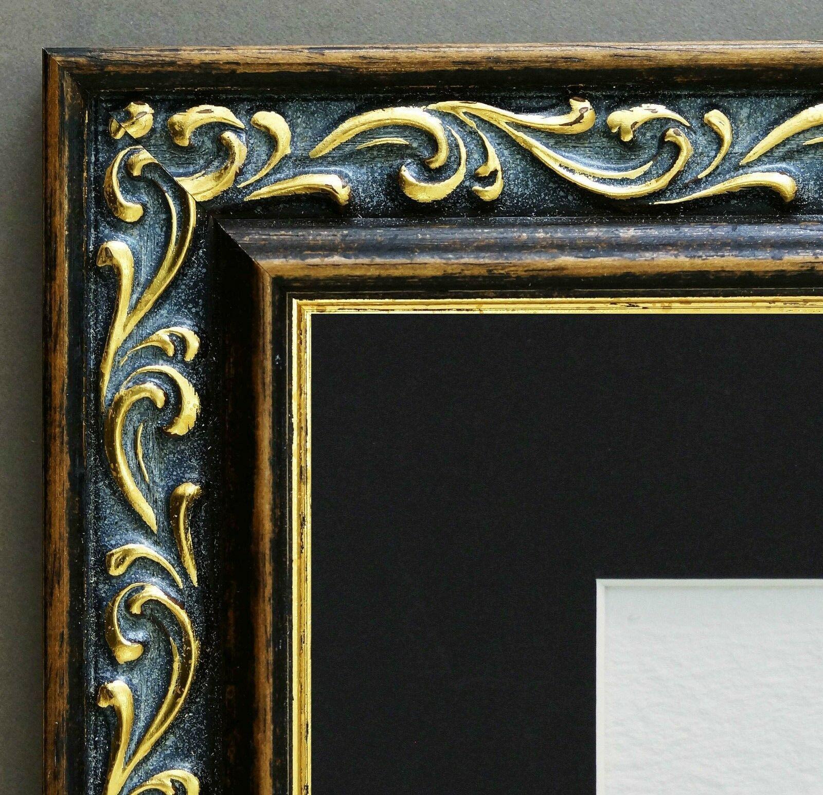 Bilderrahmen Verona Braun Gold Barock Passepartout in Schwarz 4, 4 ...