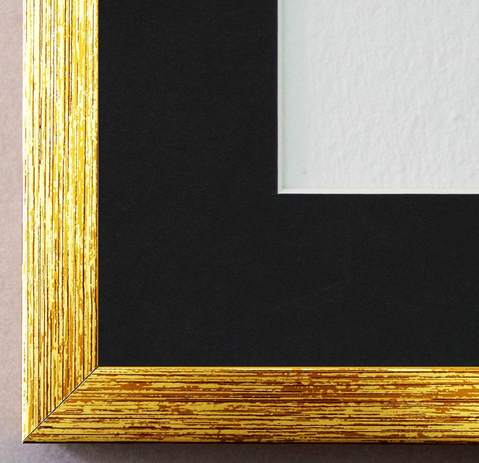 Bilderrahmen Como in Gold struk. mit Passepartout in Schwarz 2, 0 ...