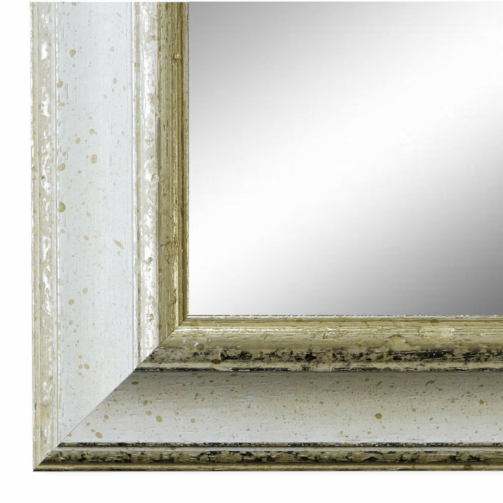 Wandspiegel Spiegel Weiss Silber Vintage Retro Holz Genua 4, 3 - NEU ...