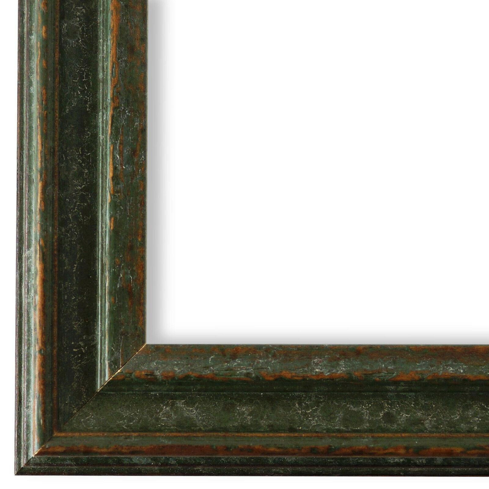 NEU alle Größen Bilderrahmen Rahmen Grün Gold Vintage Retro Holz Forli 3,7