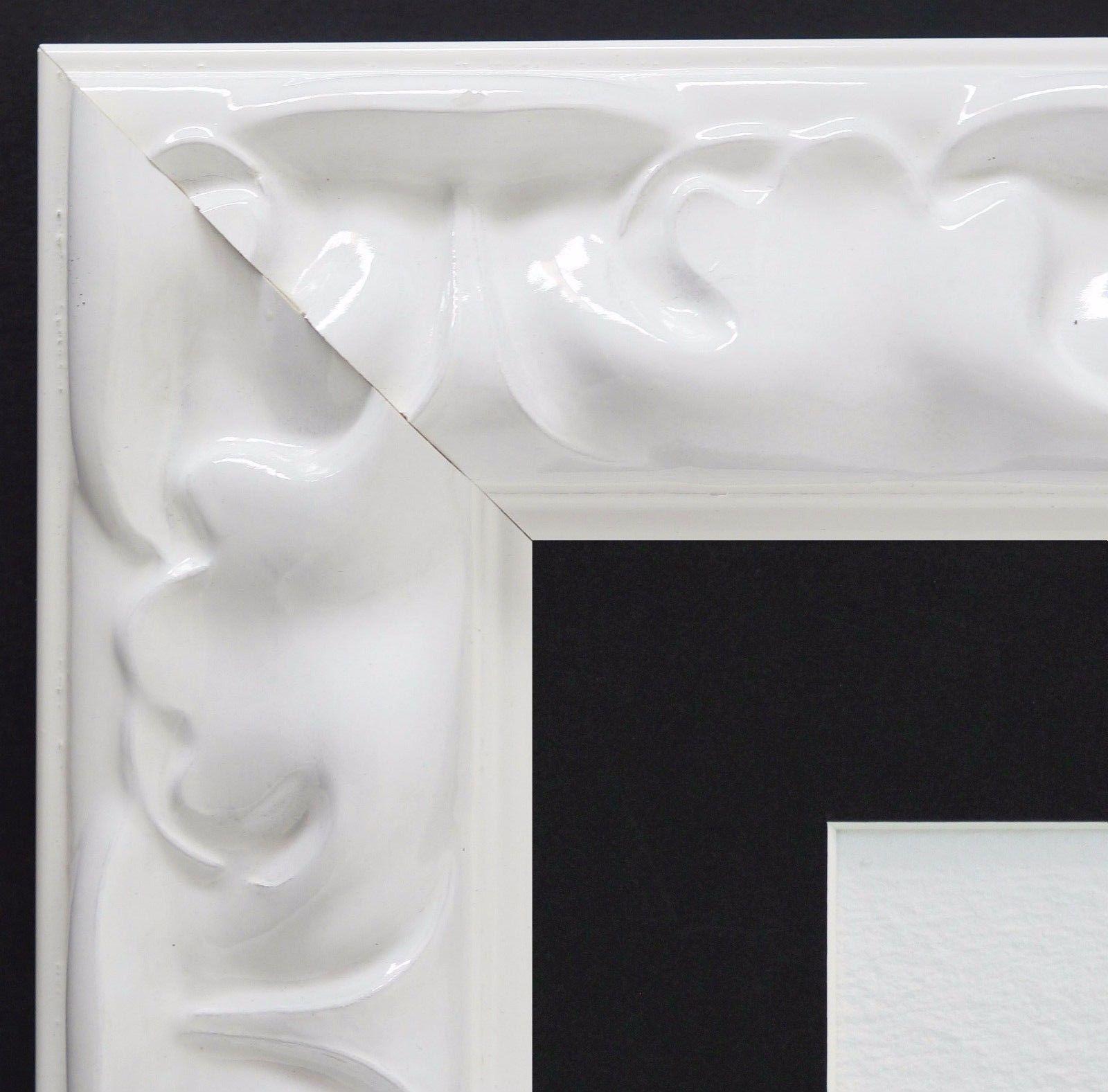 Bilderrahmen Sylt Weiß Lack Modern mit Passepartout in Schwarz 5, 7 ...