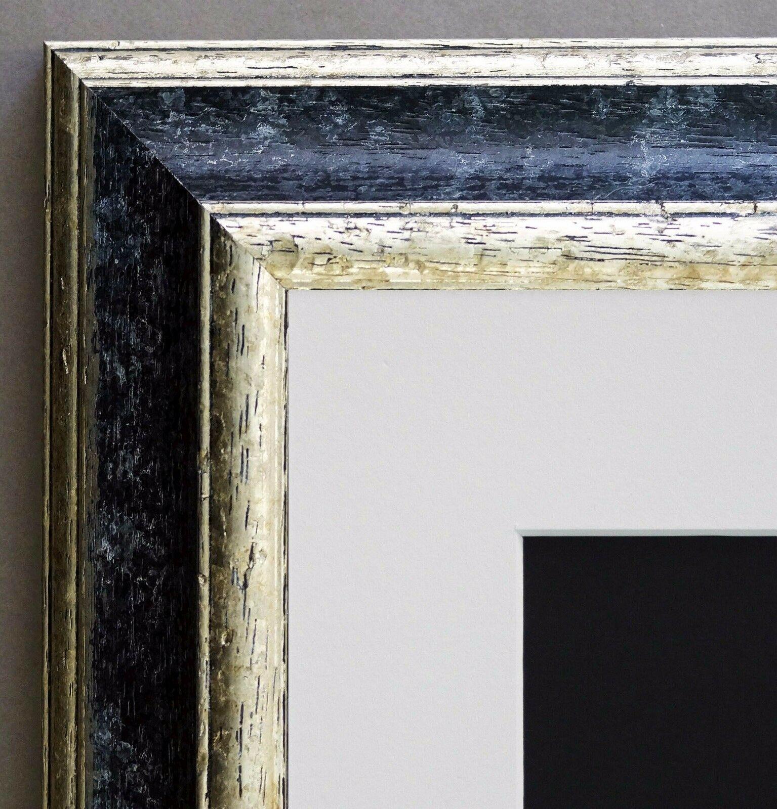 Bilderrahmen Genua Schwarz Silber Art Deco Passepartout Weiss 4, 3 ...