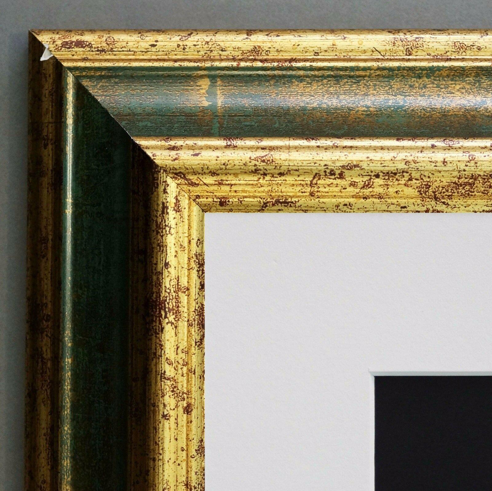 Bilderrahmen Bari in Grün Gold Klassisch Passepartout in Weiss 4, 2 ...