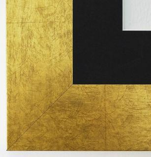 Bilderrahmen Essen in Gold rmit Passepartout in Schwarz 6, 0 Top Qualität