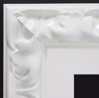 Bilderrahmen Sylt Weiß Lack Barock mit Passepartout in Weiss 5, 7 - alle Größen