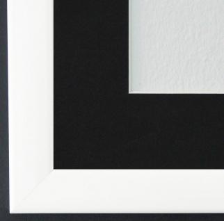 Bilderrahmen Hannover in Weiss Lack mit Passepartout in Schwarz 2, 4 Top Qualität