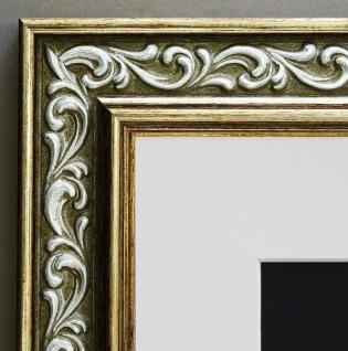 Bilderrahmen Verona in Grün Gold Barock Passepartout in Weiss 4, 4 - alle Größen